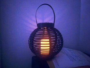 China Decoration Rattan Table Lamp , Solar Powered Candle Lantern For Outdoors supplier