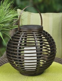 China LED Round Rattan Solar Lantern Lamp , Rattan Garden Lights 20.5X20.5X30cm supplier