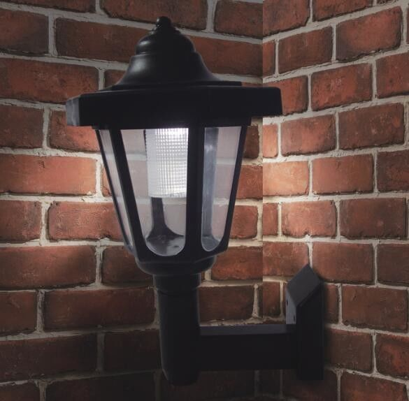 Black Color Security Solar LED Wall Light For Outside Walkway , 17x18x25.5cm Size