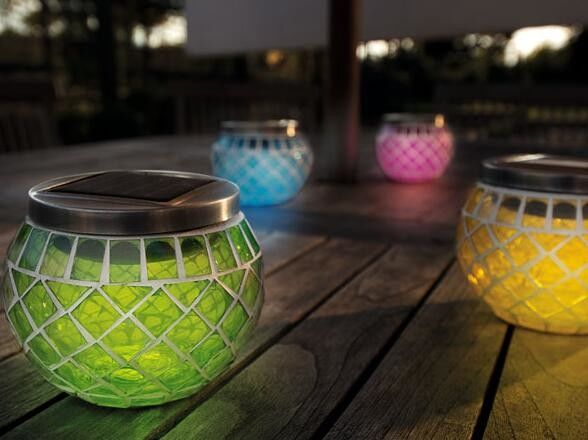 Solar Powered Mosaic Lantern Candle Holders Flicker Effect Plastic / Glass Materials