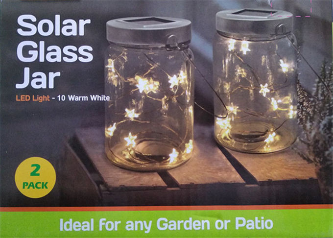 Glass Solar Led Jar Light Warm White Star Shape For Outdoor Table