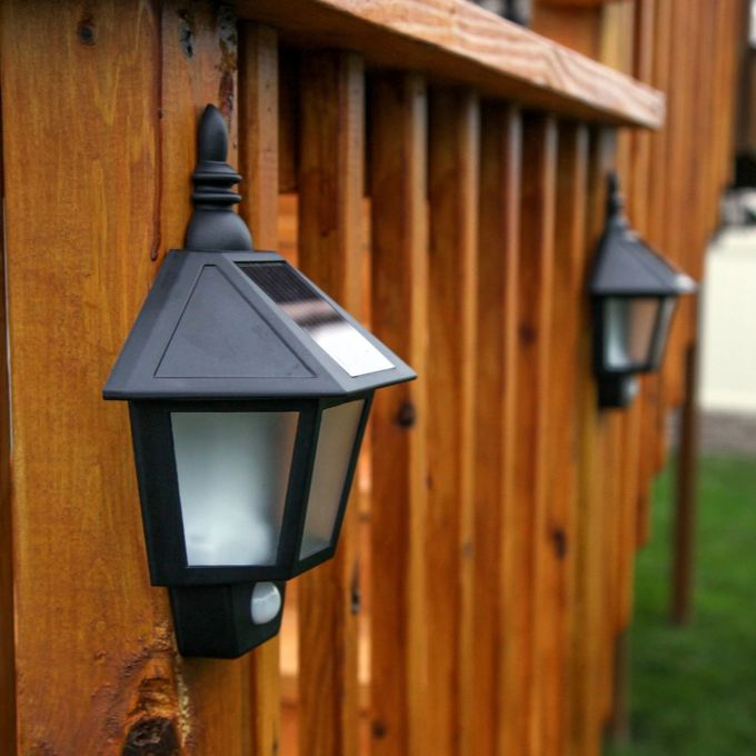 Outdoor Garden Solar LED Wall Light Landscape Lighting AUTO Switch Mode