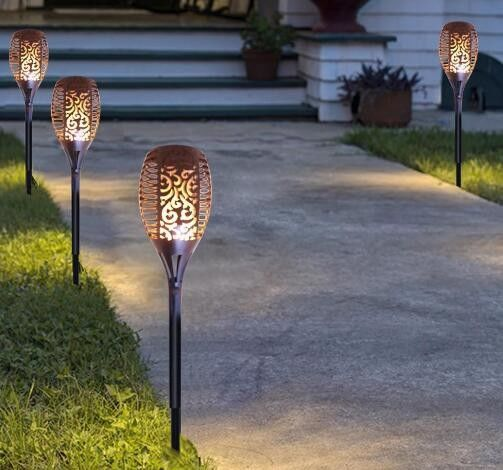 Outdoor 26 LED Solar Lantern Lamp Small LED TIKI Torch For Garden Pathway