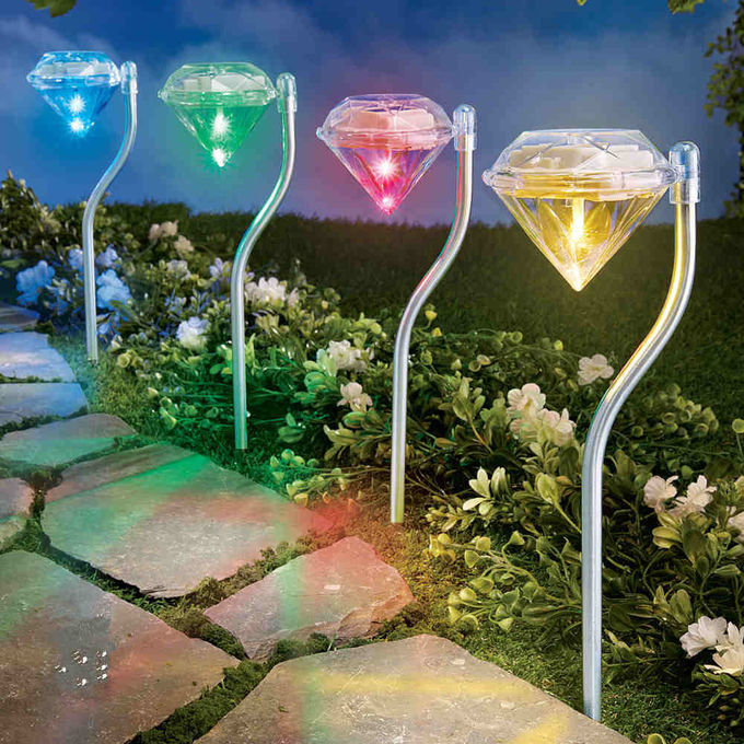 Mini Garden Solar Diamond Solar Lights For Promotion 4PK 0.06W Power